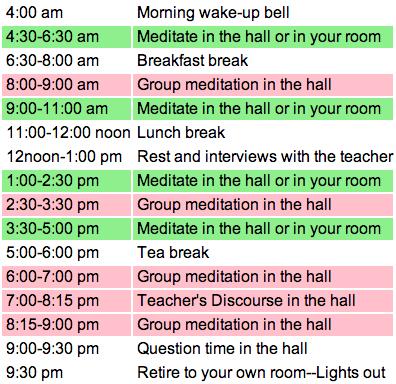 meditation schedule